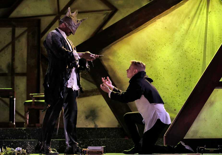 A scene from West Edge Opera's production of 'Hamlet', directed by Aria Umezawa. Image by Corey Weaver.
